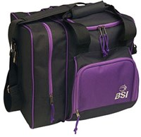 BSI Deluxe Single Tote Black/Purple Bowling Bags