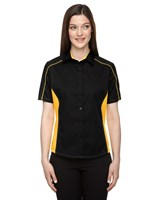 Ash City Womens Fuse Colorblock Camp Shirt Black/Campus Gold