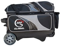 900Global Deluxe 2 Ball Roller Black/Silver Bowling Bags