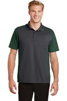 Sport-Tek Mens Colorblock Micropique Sport-Wick Polo Grey/Green