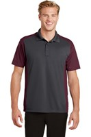 Sport-Tek Mens Colorblock Micropique Sport-Wick Polo Grey/Maroon