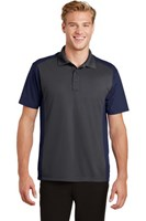 Sport-Tek Mens Colorblock Micropique Sport-Wick Polo Grey/Navy