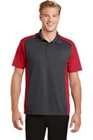 Sport-Tek Mens Colorblock Micropique Sport-Wick Polo Grey/Red