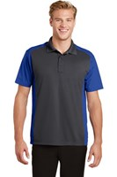 Sport-Tek Mens Colorblock Micropique Sport-Wick Polo Grey/Royal
