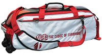 Vise 3 Ball Clear Top Roller/Tote White/Red Bowling Bags
