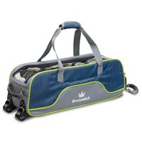Brunswick Crown Deluxe Triple Tote/Roller Navy/Lime Bowling Bags