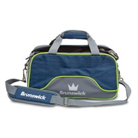 Brunswick Crown Deluxe Double Tote/Roller Navy/Lime Bowling Bags