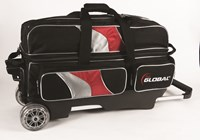 900Global 3 Ball Deluxe Roller Black/Red/Silver Bowling Bags