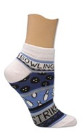 Master Ladies Blue Bowling Theme Socks