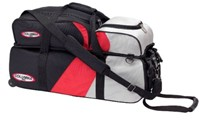 Columbia Team Triple Tote/Roller w/ Pouch Blk/Red Bowling Bags