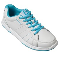 Brunswick Womens Satin White/Aqua Bowling Shoes