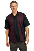 Port Authority Retro Camp Shirt Black/Burgundy