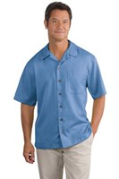 Port Authority Mens Easy Care Camp Shirt Blue