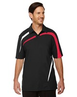 Ash City Mens Impact Performance Polo Black Silk/Red/White