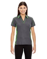 Ash City Womens Sonic Performance Polo Black Silk/Acid Green