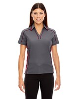 Ash City Womens Sonic Performance Polo Black Silk/Sport Red
