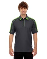 Ash City Mens Sonic Performance Polo Black Silk/Acid Green