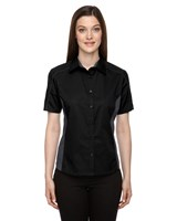 Ash City Womens Fuse Colorblock Camp Shirt Black