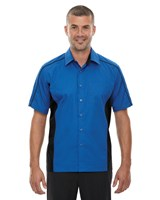 Ash City Mens Fuse Colorblock Camp Shirt True Royal/Black