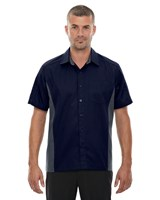 Ash City Mens Fuse Colorblock Camp Shirt Classic Navy/Carbon