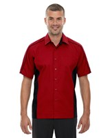 Ash City Mens Fuse Colorblock Camp Shirt Classic Red/Black