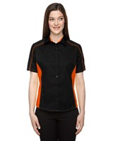 Ash City Womens Fuse Colorblock Camp Shirt Black/Orange