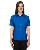 Ash City Womens Fuse Colorblock Camp Shirt True Royal/Black
