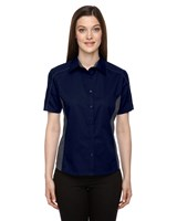 Ash City Womens Fuse Colorblock Camp Shirt Classic Navy/Carbon
