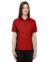 Ash City Womens Fuse Colorblock Camp Shirt Classic Red/Black