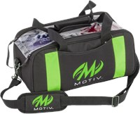 Motiv Clear View Double Tote Black/Green Bowling Bags