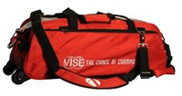 Vise 3 Ball Clear Top Roller/Tote Red Bowling Bags