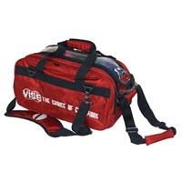 "VISE 2 Ball ""Clear Top"" Tote Roller Red Bowling Bags"