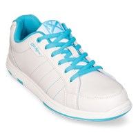 KR Strikeforce Womens Satin White/Aqua Wide Width Bowling Shoes