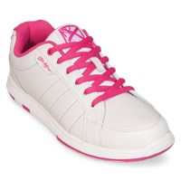 KR Strikeforce Womens Satin White/Hot Pink Bowling Shoes