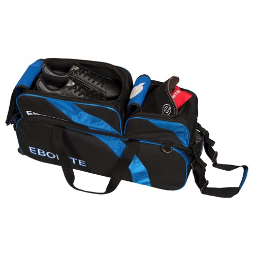 Ebonite Equinox Slim Triple Tote w/ Shoe Pouch Black/Blue Core Image