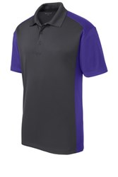 Sport-Tek Mens Colorblock Micropique Sport-Wick Polo Grey/Purple Core Image