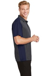 Sport-Tek Mens Colorblock Micropique Sport-Wick Polo Grey/Navy Core Image