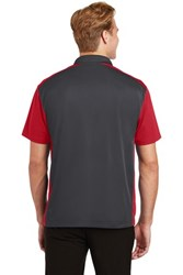 Sport-Tek Mens Colorblock Micropique Sport-Wick Polo Grey/Red Core Image