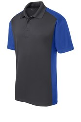 Sport-Tek Mens Colorblock Micropique Sport-Wick Polo Grey/Royal Core Image