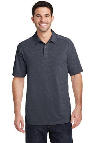 Port Authority Mens Digi Heather Performance Polo | Dark Grey