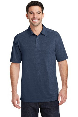 Port Authority Mens Digi Heather Performance Polo Dress Blue Navy Main Image