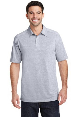 Port Authority Mens Digi Heather Performance Polo Light Grey Main Image