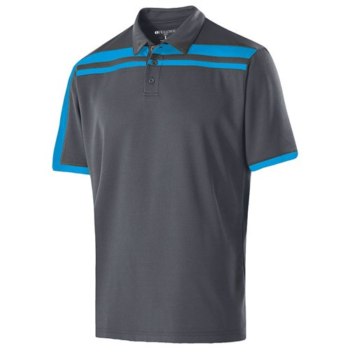 Holloway Mens Charge Polo | Carbon/Bright Blue