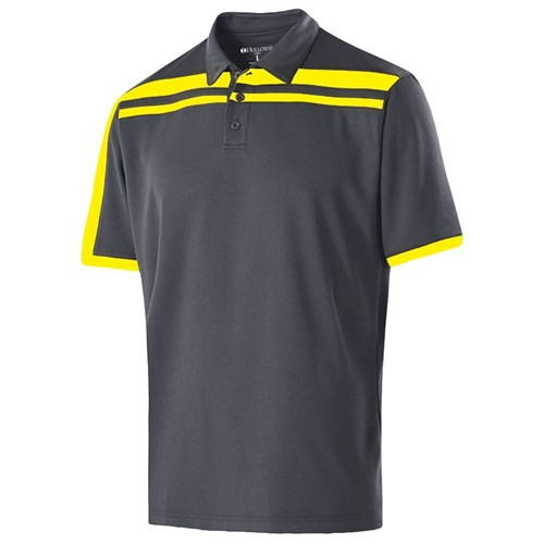 Holloway Mens Charge Polo Carbon/Yellow Main Image
