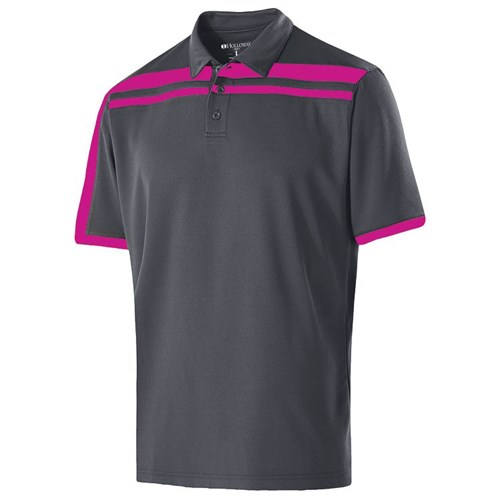 Holloway Mens Charge Polo Carbon/Pink Main Image