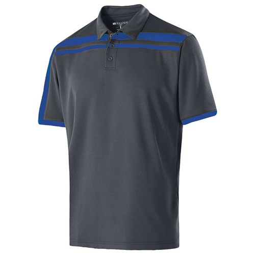 Holloway Mens Charge Polo Carbon/Royal Main Image