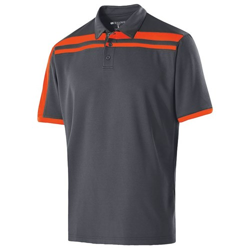 Holloway Mens Charge Polo Carbon/Orange Main Image