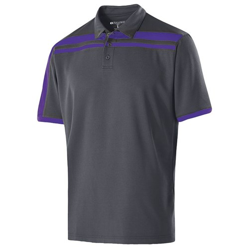 Holloway Mens Charge Polo Carbon/Purple Main Image