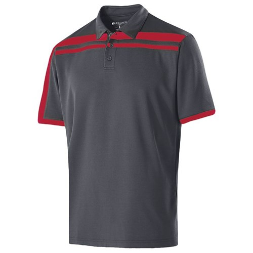 Holloway Mens Charge Polo Carbon/Scarlet Main Image