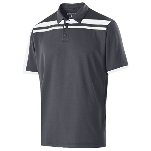 Holloway Mens Charge Polo Carbon/White Main Image